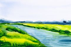 Watercolor illustration of a beautiful summer forest landscape by the river.  vector illustration