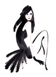 Watercolor illustration of beautiful woman. Stock Images