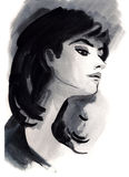 Watercolor illustration of beautiful woman. Royalty Free Stock Photos