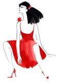 Watercolor illustration of beautiful woman. Stock Photos