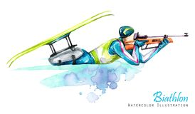 Watercolor illustration. Biathlon. Cross-Country Skiing. Disability snow sports. Disabled athlete shoots from a rifle Royalty Free Stock Images