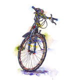 Watercolor illustration of a bicycle. Clip art of a bicycle from my own watercolor painting Stock Image