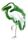 Watercolor illustration of a bird Heron Royalty Free Stock Photo