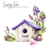 Watercolor illustration. Birdhouse with hyacinth seedlings and tag. Rustic objects. Spring collection in violet shades. ClipArt, DIY, scrapbooking elements Stock Photography
