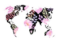 Watercolor illustration. Black World map with colorful flowers a Stock Photos