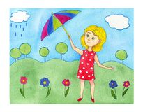Watercolor illustration blonde girl in red polka dot dress with stripe umbrella on the summer green background. royalty free illustration