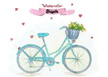 Watercolor illustration. Blue bicycle with flowers in basket. stock illustration