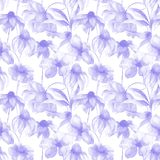 Watercolor illustration of blue wild flowers. Seamless pattern Stock Image