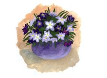Watercolor illustration of a bouquet of flowers stock illustration