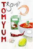 Watercolor illustration of bowl of Tom Yum Soup and ingredients stock photo