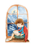 Watercolor illustration. The boy with book dreaming about a big Stock Image
