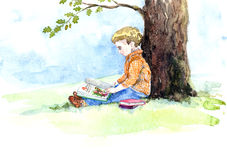 Watercolor Illustration Boy Reading under Oak. Hand painted watercolor illustration of Boy Reading under Oak Royalty Free Stock Photography