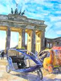 Watercolor illustration Brandenburg Gate in Berlin. tourist bikes in front and People walking through the gate.  royalty free illustration