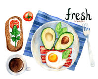Watercolor illustration of a breakfast meal Royalty Free Stock Photography