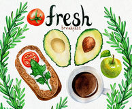 Watercolor illustration of a breakfast meal Royalty Free Stock Image