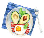 Watercolor illustration of a breakfast meal Stock Image