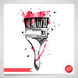 Watercolor illustration of a brush. Building and repair. Vector Vector Illustration