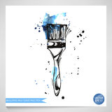 Watercolor illustration of a brush. Building and repair. Vector Stock Illustration