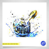 Watercolor illustration of a brush. Building and repair. Vector Royalty Free Illustration
