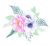 Watercolor illustration. Bucket with Floral elements. Bouquet wi. Th peonies, anemone flowers, leaves and branches. Perfect for Wedding invitation, greeting card Stock Photography