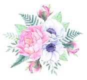 Watercolor illustration. Bucket with Floral elements. Bouquet wi. Th peonies, anemone flowers, leaves and branches. Perfect for Wedding invitation, greeting card Royalty Free Stock Photography
