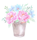 Watercolor illustration. Bucket with Floral elements. Bouquet wi. Th peonies, blue flowers, leaves and branches. Perfect for Wedding invitation, greeting card Stock Photo