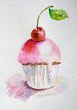 Watercolor illustration of cake Stock Photo