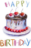 Watercolor illustration of cake Stock Image