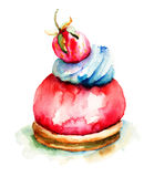 Watercolor illustration of cake. Watercolor illustration of beautiful cake Royalty Free Stock Image
