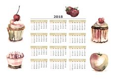 Сakeы with calendar for 2018. Watercolor illustration of cake with calendar for 2018 Royalty Free Stock Photo