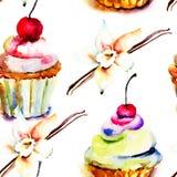 Watercolor illustration of cake stock illustration