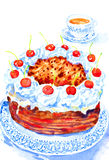 Watercolor Illustration Cake and Tea. Hand painted watercolor illustration of food Stock Photography