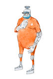 Watercolor illustration of cartoon cyborg or humanoid robot wearing orange prison jumpsuit uniform Royalty Free Stock Photo