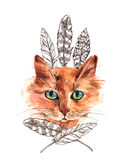Watercolor illustration with cat. Beautiful hand drawn watercolor illustration with cat. Sketch  style. Good for invitations, covers for smartphones, textiles Royalty Free Stock Image