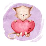 Watercolor illustration of a cat with a pink heart. Suitable for clothing, wallpaper, paper, stickers, books, utensils