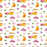 Watercolor illustration of a cat seamless pattern with red cats. Watercolor illustration of a cat seamless pattern with cats stock photos