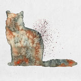 Watercolor illustration of a cat silhouette Stock Images