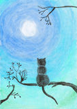 Watercolor illustration of a cat on a tree Stock Photos