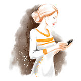 Watercolor illustration, chating girl Royalty Free Stock Images