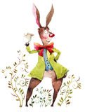 Watercolor illustration of cheerful bunny.  Royalty Free Stock Image