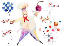 Watercolor illustration of chef Stock Photos