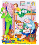 Watercolor illustration. Children in bedroom Royalty Free Stock Images