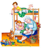 Watercolor illustration. Children in bedroom Royalty Free Stock Photo