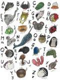Cute watercolor alphabet stock image