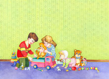 Watercolor illustration. Children playing Royalty Free Stock Photo