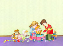 Watercolor illustration. Children playing in the room. Watercolor illustration. Young children playing in the room: trying to put the cat in the truck to roll Stock Images