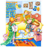 Watercolor illustration. Children woke up and wake up parents Royalty Free Stock Photography