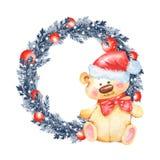 Christmas fir tree wreath and Teddy bear. Watercolor illustration. Christmas fir tree wreath and Teddy bear in Santa Hat vector illustration