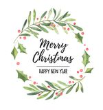 Watercolor illustration. Christmas laurel wreath. Perfect for in. Vitations, greeting cards, blogs, posters and more. Merry christmas and happy new year stock illustration