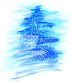 Watercolor illustration  Christmas tree in snow Royalty Free Stock Photo